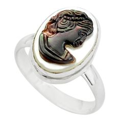 5.63cts lady face natural titanium cameo on shell 925 silver ring size 8 p80141