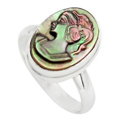 6.26cts lady face natural titanium cameo on shell 925 silver ring size 8 p80143