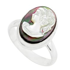 5.63cts lady face natural titanium cameo on shell 925 silver ring size 7 p80145