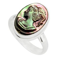5.63cts lady face natural titanium cameo on shell 925 silver ring size 7 p80146