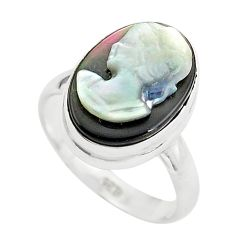 5.64cts lady face natural titanium cameo on shell 925 silver ring size 6 p80149