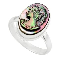 5.96cts lady face natural titanium cameo on shell 925 silver ring size 8 p80153
