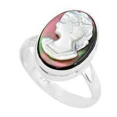 5.64cts lady face natural titanium cameo on shell 925 silver ring size 7 p80155