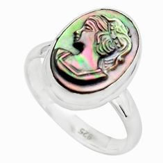5.96cts lady face natural titanium cameo on shell 925 silver ring size 8 p80157