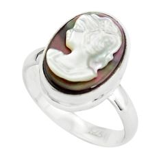 5.99cts lady face natural titanium cameo on shell 925 silver ring size 7 p80158