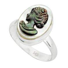 6.01cts lady face natural titanium cameo on shell 925 silver ring size 8 p80160