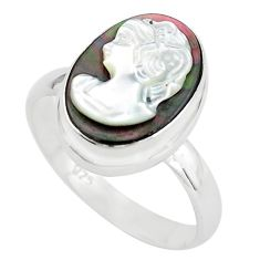 5.96cts lady face natural titanium cameo on shell 925 silver ring size 9 p80174