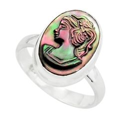 5.64cts lady face natural titanium cameo on shell silver ring size 7.5 p80147