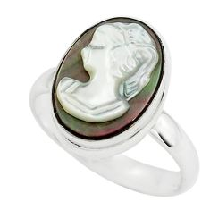 5.96cts lady face natural titanium cameo on shell silver ring size 7.5 p80150
