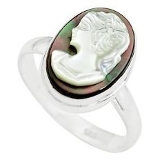 5.96cts lady face natural titanium cameo on shell silver ring size 8.5 p80151