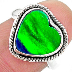 4.28cts (lab) northern lights aurora opal 925 silver handmade ring size 7 t23442