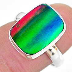 4.02cts (lab) northern lights aurora opal 925 silver handmade ring size 7 t23443