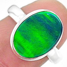 3.84cts (lab) northern lights aurora opal 925 silver handmade ring size 8 t23406