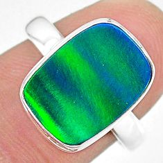 4.20cts (lab) northern lights aurora opal 925 silver handmade ring size 8 t23432