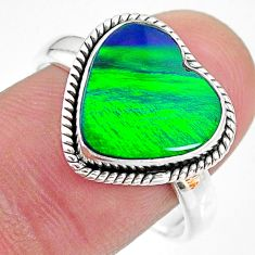 3.98cts (lab) northern lights aurora opal 925 silver handmade ring size 9 t23441