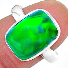 4.20cts (lab) northern lights aurora opal 925 silver handmade ring size 9 t23458