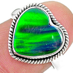 3.84cts (lab) northern lights aurora opal heart silver ring size 7 t23445