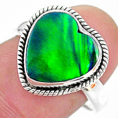 3.98cts (lab) northern lights aurora opal heart silver ring size 8 t23452