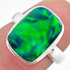 4.28cts (lab) northern lights aurora opal octagan silver ring size 6 t23440