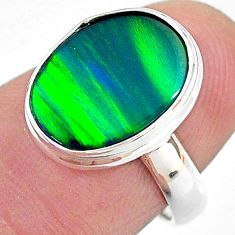 3.98cts (lab) northern lights aurora opal oval 925 silver ring size 6 t23403