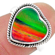3.82cts (lab) volcano aurora opal 925 sterling silver ring size 6 t23366