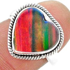 4.21cts (lab) volcano aurora opal 925 sterling silver ring size 7 t23365
