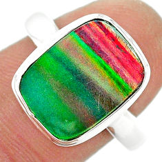 4.28cts (lab) volcano aurora opal 925 sterling silver ring size 9 t23367