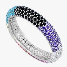 1.99ct gemstones infinity band 925 sterling silver eternity ring size 7.5 c23524