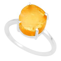 5.32cts 10x12mm citrine raw 925 sterling silver ring jewelry size 8 r90014