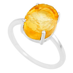 5.05cts 10x12mm citrine raw 925 sterling silver ring jewelry size 8 r90016
