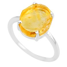 4.95cts 10x12mm citrine raw 925 sterling silver ring jewelry size 8 r90020