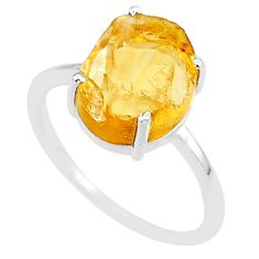5.25cts 10x12mm citrine raw 925 sterling silver ring jewelry size 9 r90015