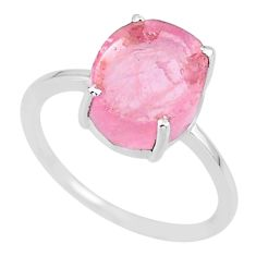5.22cts 10x12mm pink rose quartz raw 925 sterling silver ring size 9 r89987