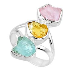 11.04ct raw citrine aquamarine rose quartz raw 925 silver ring size 7.5 r73760