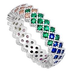 2.11ct gemstones infinity band 925 sterling silver eternity ring size 5.5 c23536