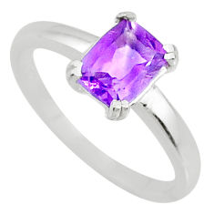 2.11ct natural faceted amethyst 925 silver solitaire ring jewelry size 9 r71129