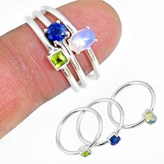 2.34ct ethiopian opal sapphire peridot 925 silver 3 stackable ring size 6 r59918
