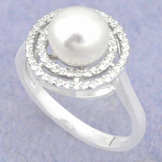 25 sterling silver natural white pearl topaz round ring jewelry size 7.5 c25105