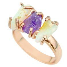 3 stone amethyst ethiopian opal raw 925 silver 14k gold ring size 7 t51234