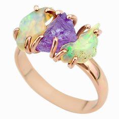 3 stone amethyst ethiopian opal raw 925 silver 14k gold ring size 9 t51221