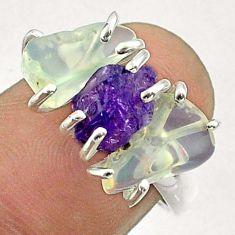 8.95cts 3 stone amethyst ethiopian opal raw 925 silver ring size 7 t51485