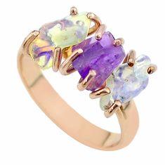 3 stone amethyst ethiopian opal raw 925 silver rose gold ring size 8 t51202