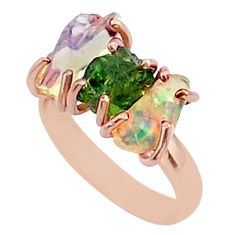 3 stone apatite ethiopian opal raw 14k rose gold handmade ring size 7 t38013