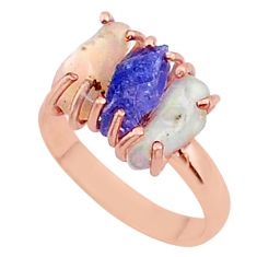 3 stone apatite ethiopian opal raw 14k rose gold handmade ring size 9 t38004