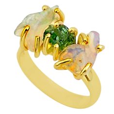 9.80cts 3 stone apatite ethiopian opal raw 14k gold handmade ring size 7 t38020