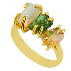 9.80cts 3 stone apatite ethiopian opal raw 14k gold handmade ring size 8 t38016
