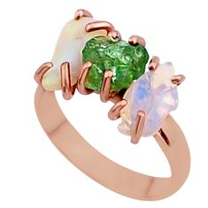 9.27cts 3 stone apatite ethiopian opal raw 14k rose gold ring size 8 t38006