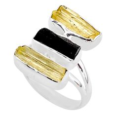 12.47cts 3 stone black tourmaline raw scapolite 925 silver ring size 7 t37805