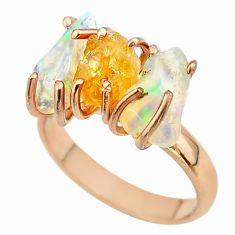 3 stone citrine ethiopian opal raw 925 silver 14k gold ring size 8 t51225