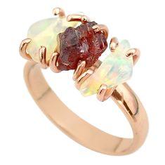 3 stone garnet ethiopian opal raw 925 silver 14k gold ring size 8 t51229